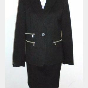 Michael Kors black pinstripe pencil skirt suit 8